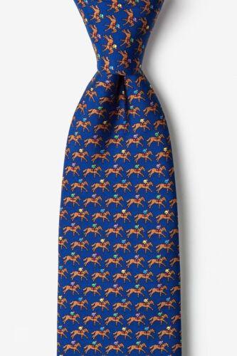 Alynn 100/% Silk Blue One Horse Racing Kentucky Derby Horses Jockey Necktie Tie