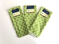 Home Collection- Microfiber Kitchen Towels, Green & White, 3 Piece Set, 15 X 25