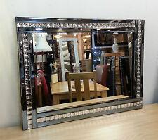 NEW Modern Art Deco Acrylic Crystal Glass Design Bevelled Mirror 60x80cm Smoked