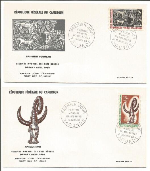 4 Fdc 1er Jour Timbres 1966 République Du Cameroun Yaoundé /l28