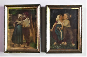 2-entzueckende-antike-OLBILDER-Miniaturbilder-im-Waschgoldrahmen-PUPPENSTUBE