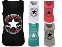 New Womens Ladies Vest Top Converse Logo Print Sleeveless Racer Muscle T-Shirt