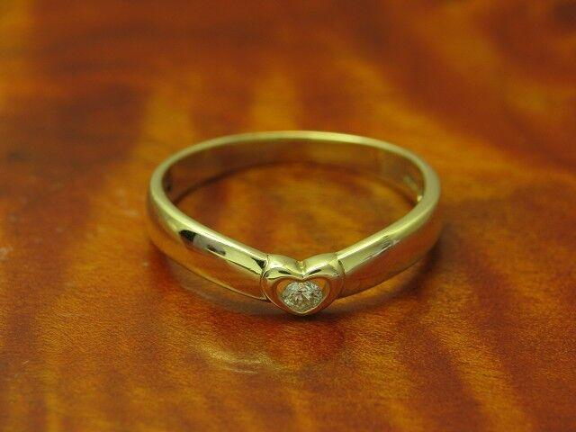 14kt 585 yellowgold Ring mit Brillant Besatz   Diamant   Herz   2,5g   RG58