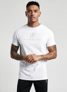 Nuevo-rey-Gimnasio-Para-Hombre-Manga-Corta-Cuello-Redondo-Camiseta-Sport-Logotipo-Camiseta-Blanco