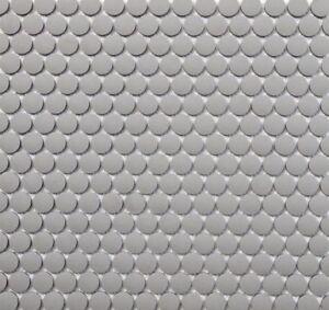 Grey Unglazed Penny Round Mosaic Tile