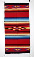 4214 Saltillo Rug Mat 20x40 Handmade Mexico Artisan Woven Wool Blend Accent