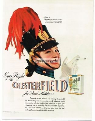 1940-49 Advertising-print 1940 Chesterfield Cigarettes Drum Majorette Marion Hutton Vtg Print Ad In Pain