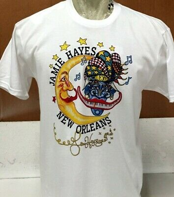 BLUESMAN 100/% COTTON T-SHIRT Jamie Hayes NEW ORLEANS PIANO MOUTH MUSIC BLACK