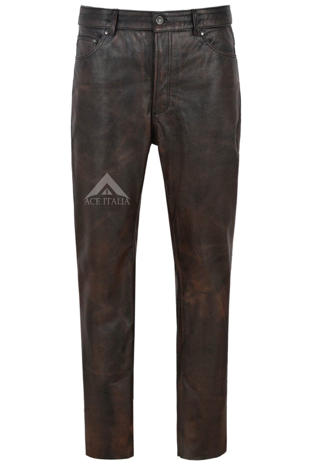 Men's Leather Pants Biker Trouser schwarz Rub Off Jeans Style Cowhide Leather 501