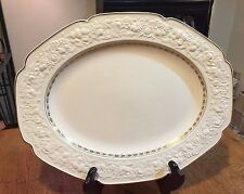 "Crown Ducal Florentine China Platter - Diana - White w/ Gold Trim 14"" x 17 1/2"""