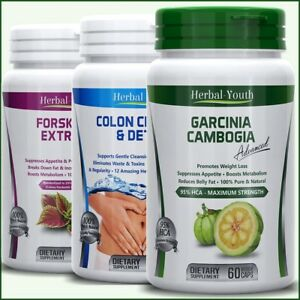 GARCINIA-CAMBOGIA-FORSKOLIN-COLON-CLEANSE-DETOX-Capsules-Weight-Loss-Pills