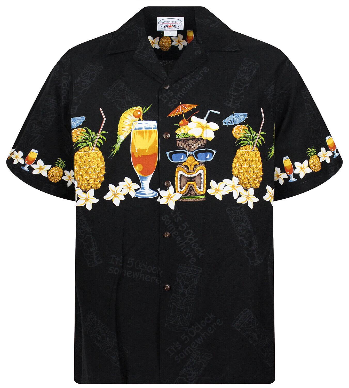 PLA ORIGINALE Hawaii Camicia per Uomo Cocktail ANANAS Petto Nero Stampa