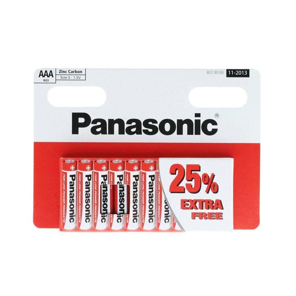 10 x AAA Genuine PANASONIC Zinc Carbon Batteries LR03 1.5V MN2400 Long Expiry