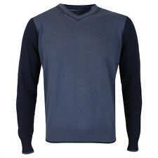 ARMANI-Blu Scuro Pullover Scollo a V Maglione-Taglia MED * NUOVO CON ETICHETTE * RRP £ 125