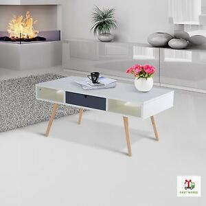 Image Is Loading Scandinavian Coffee Table Retro Style White Wooden Elegant