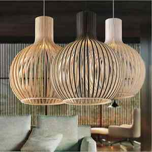 Modern led wooden pendant light wood cage home decorative dining image is loading modern led wooden pendant light wood cage home mozeypictures Image collections