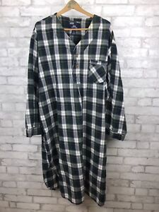 Stafford Men's Green Blue Plaid Sleep Night Shirt  - Size XXL Cotton Flannel