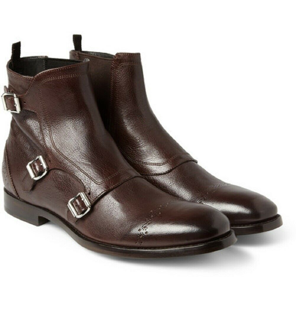 botas para hombre hecho a mano de cuero Marrón Monje Triple tobillo Ropa Formal Informal Zapatos Nuevos
