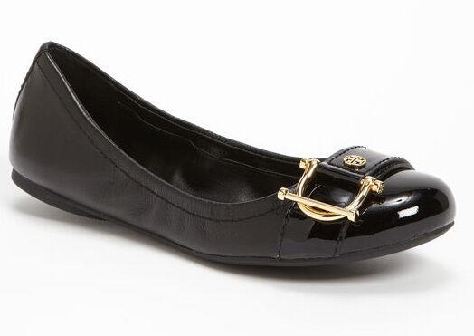 ordinare on-line TORY BURCH Noel oro Logo Logo Logo nero Patent Leather Ballet Flat Dimensione 7.5 M scarpe NEW  godendo i tuoi acquisti