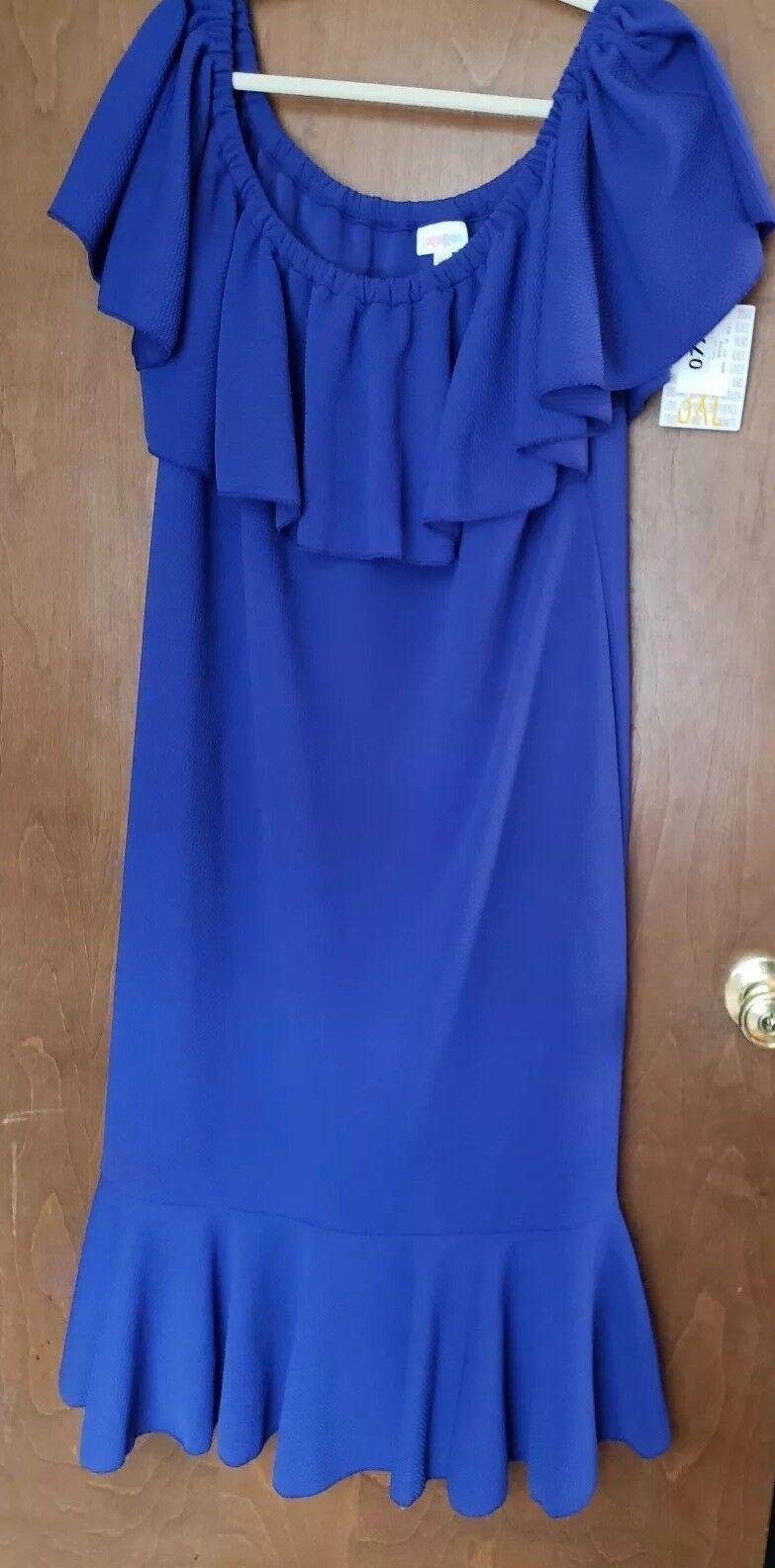 Lularoe Cici Flounce Dress 3XL XXXL Solid bluee