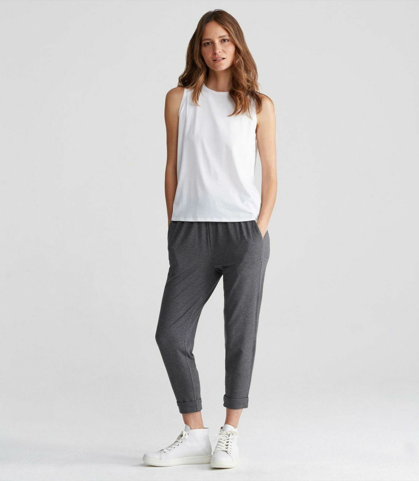NWT Eileen Fisher Ash Cozy Tencel Stretch Jersey Slouchy  Pant Size L MSRP  198