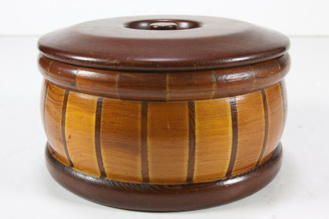 California Redwood Forest Wooden Lidded Box Round Turned Pieced Souvenir W Label