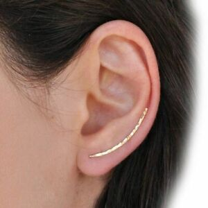 Earring-925-Silver-Grillz-Piercing-Jewelry-EarCuff-Charm-Hammered-14-Gold-Filled