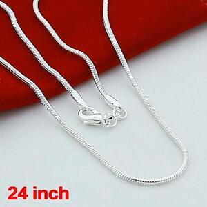 Moda-plata-maciza-925-porciones-1mm-Snake-cadenas-collares-24-pulgadas-nuevo-OP