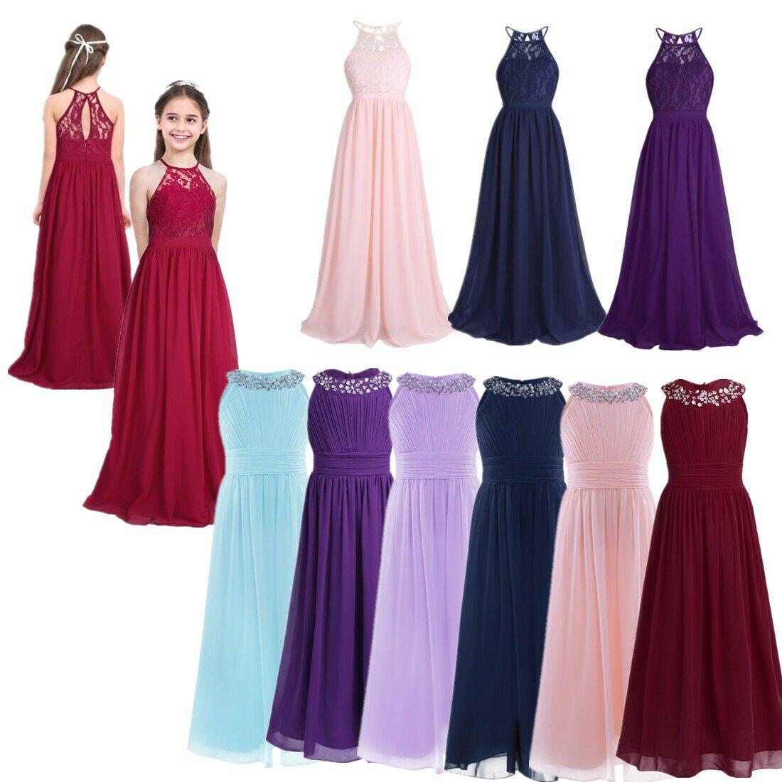 Flower Girl Bridesmaid Dress Sequin Maxi Dresses Party Princess Wedding Gown
