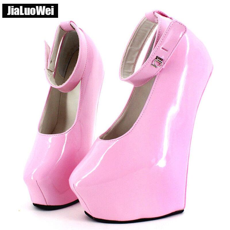 jialuowei Lockable Lockable jialuowei Ankle Strap Pumps Sexy Hoof Sole Heelless High Heel Shoes cb2077