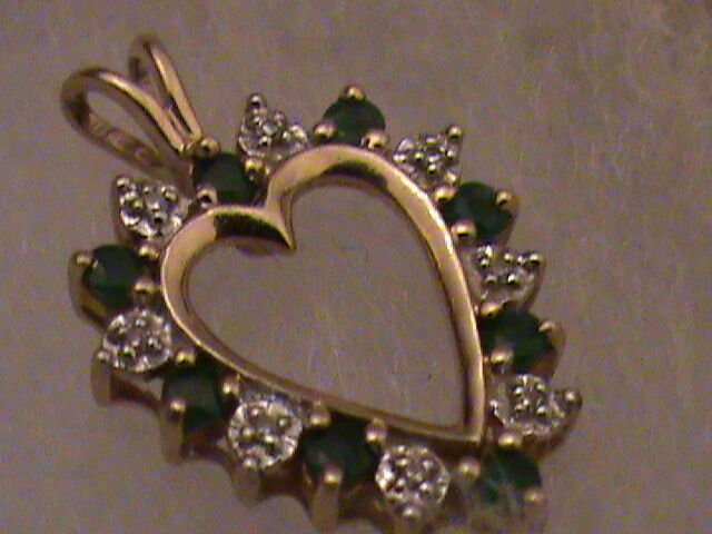 Beautiful 10k gold Green Stones with Diamonds Heart Pendant