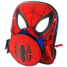 "Marvel Spider-Man Face Boys Children School 12"" Backpack + Lunch Bag 3+"