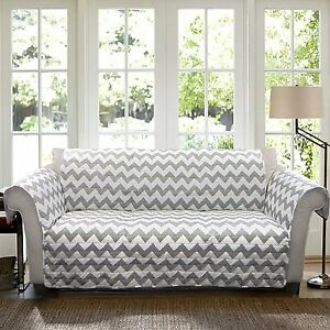 Details About Couch Cover Protector Chevron Sofa Slip Furniture Gray White Modern Living Room