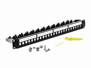 AMPCOM-24-Port-1U-STP-UTP-Blank-Keystone-Patch-Panel-19-inch-Rack-Wall-Mount