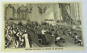 Petit-1883-Revue-Gravure-Servian-Skupchina-en-Session-Belgrade-Serbie