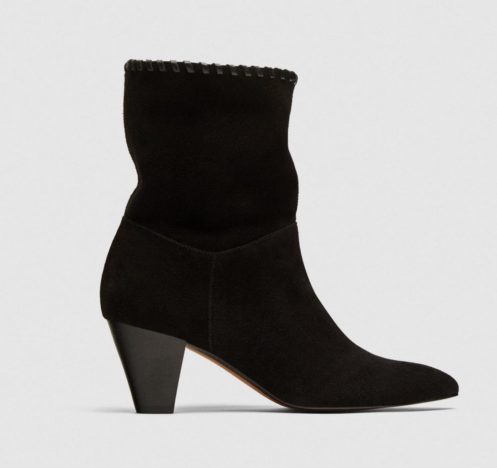 Zara Woman vaquero botín Western botines Western negro Suede Leather