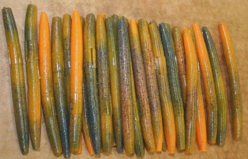 "4/"" Stick Senko Style Craw Orange Swirl 100 count bag bulk Bass Plastic Worms"