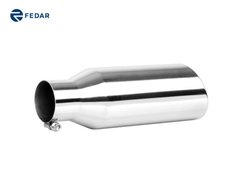 2.5 inch Inlet 4 Outlet 12 Long Rolled End Angle Cut Truck Exhaust Tip Pipe
