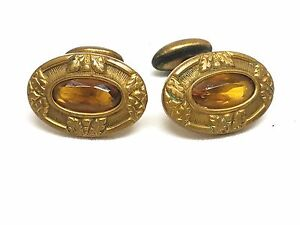 Fantastic-Cufflinks-Gold-Tone-with-Topaz-Color-Stones-Vintage-Cuff-Links