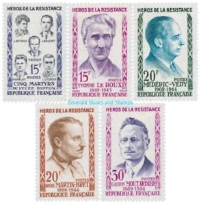 EBS-France-1959-Heroes-of-the-Resistance-III-YT-1198-1202-MNH