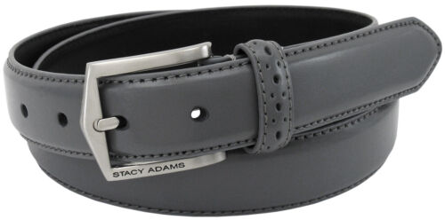 Men/'s Stacy Adams Dress Belt 087 Solid Gray Pinseal Leather Size 32 To 52