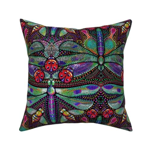 Dragonflies Dotted Damask Throw Pillow Cover w Optional Insert by Roostery