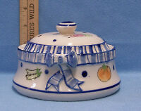 Small Tureen Vegetable Print Cobalt Blue & White Ceramic Bowl Dish With Lid