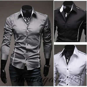 ST79-New-Mens-Luxury-Casual-Slim-Fit-Stylish-Dress-Shirts-3-Colors-4-Size
