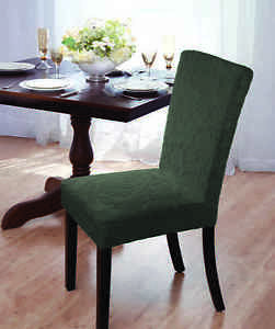 Image Is Loading CLEARANCE DAMASK VELVET STRETCH DINING CHAIR COVER FOREST