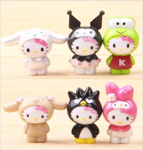 6pcs Hello Kitty Anime Figure Model Doll Toy Decoration Cake Topper 4CM
