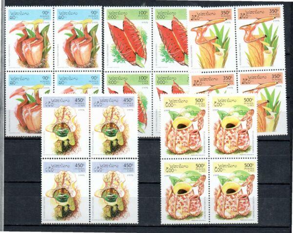 """1995 Laos - Block Of 4 """"plantas Insectivoras, Insective Plants, Flora"""" Mint Voulez-Vous Acheter Des Produits Autochtones Chinois?"""