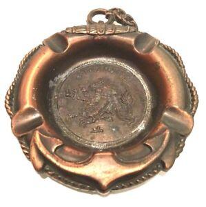 Hong-Kong-Chinese-Dragon-Copper-Plated-Ashtray-Lifesaver-Anchor-Vintage-Souvenir