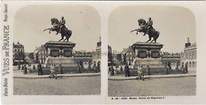 Postal-Rouen Estatua Napoleón 1er Francia Foto Estéreo Vintage Analógica c1930