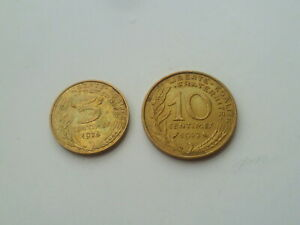 One Lot France / Francs 1972-10 centimes & 1975- 5 centimes coins (#143-G)